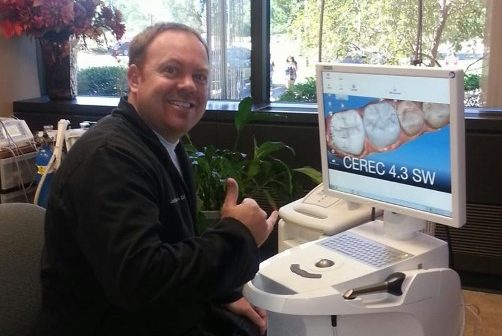 Doctor Johnston with CEREC